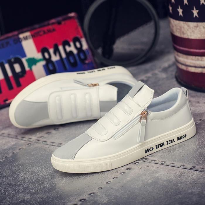 Mode Cuir Chaussures Hommes Respirant Souliers simple d'homme Side Slip fermeture à glissière Mocassins Flats,blanc,7