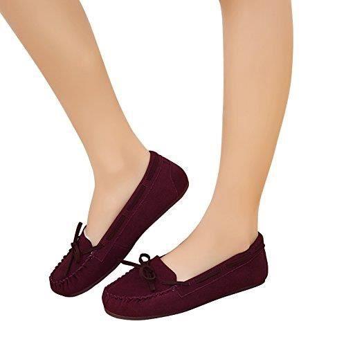Mocassins chaussons faux suède Mocassins fourrure confortable Chaussures plates Y9K0C Taille-38