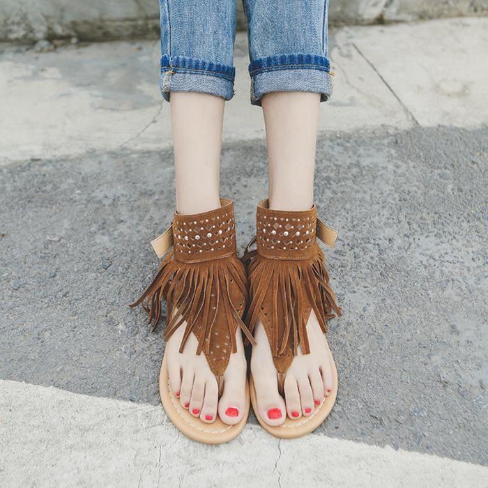 Femmes été fleur filles tongs plage sandales Bohême sandales plateshyu-728