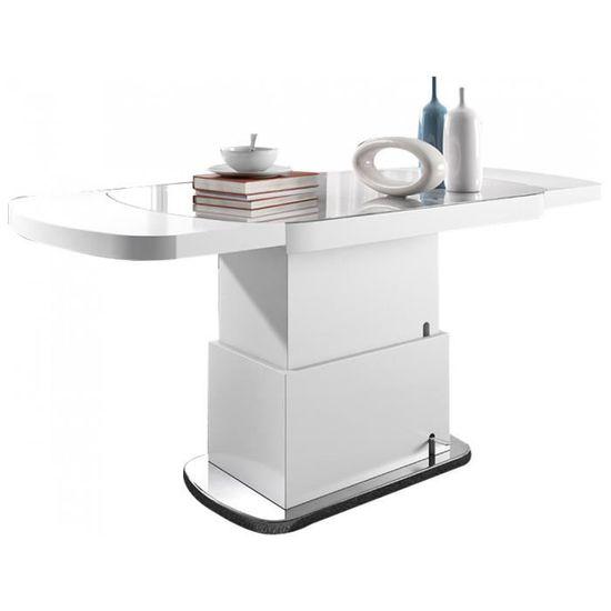 table ovale design 120 180 cm extensible et relevable coloris blanc laqu avec plateau en verre tremp achat vente table basse table ovale design - Table Ovale Extensible Design