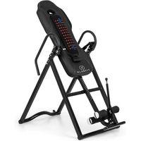 Klarfit Ease Delux Table d'inversion Banc d'inversion max 136kg - 1,54-1,98m - Revêtement chauffant pour massage dorsal - noir