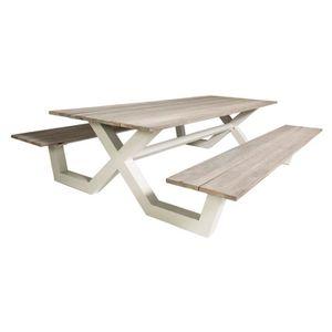 Table de jardin 150cm en fer plateau carreaux de ciment - L 150 x l ...