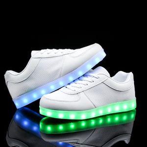 7 Couleur Homme USB Charge LED Lumière Lumineux Clignotants Chaussures de Sports Baskets BLANC x33pJZ