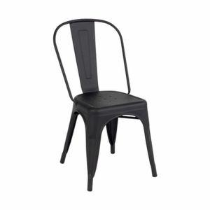CHAISE RETRO Lot de 2 chaises industrielles NOIR MATE