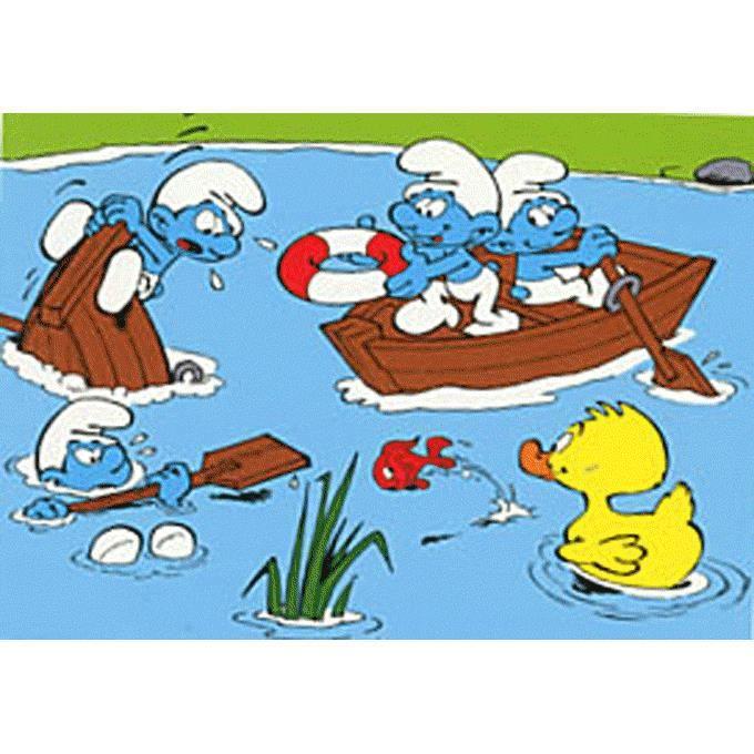 Réalise ton superbe coloriage Schtroumpfs. Schtroumpfons-nous en barque ! - Peyo