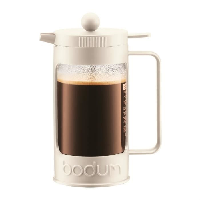 BODUM BEAN Cafetière piston 8 tasses/1L blanc