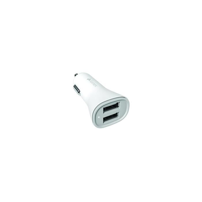 Kanex Chargeur allume cigare - 2 ports USB - 3.4A - Blanc