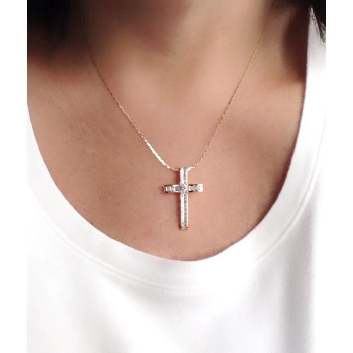 18k or rose plaqué or grand collier pendentif croix pour les femmes 18? pouces plat chaîne TLX52