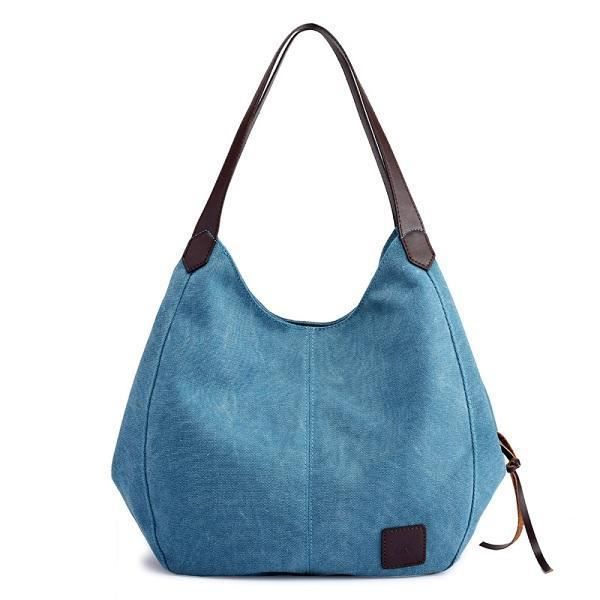 SBBKO3032FemmesQualitéToileThreeLayerLarge Capacity Casual Vintage Handbag Shoulder Bag Bleu