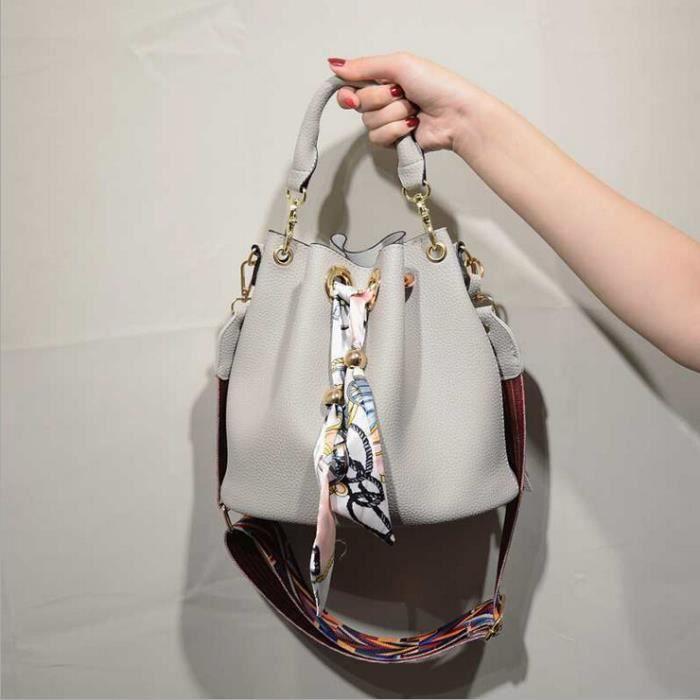 FMAILY® couleur de broderie diagonale large sac seau portable bandoulière sac à main à franges (gris)