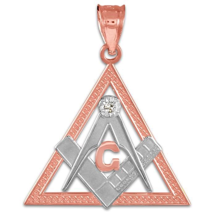Collier Pendentif14 ct 585/1000 tonnes Deux Or Rose Trois Angle Franc Maçondiamant