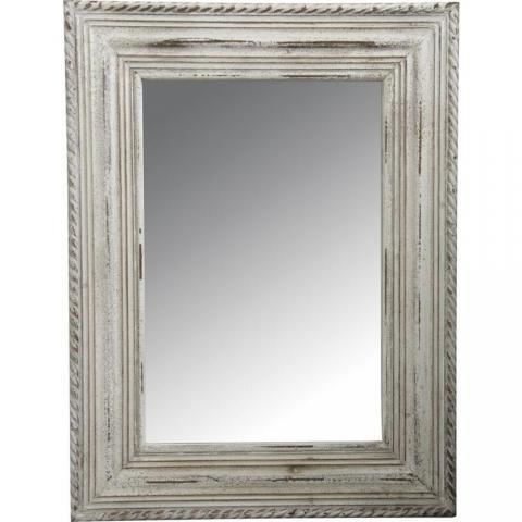 grand miroir rectangle avec cadre en bois blanc achat vente miroir cdiscount. Black Bedroom Furniture Sets. Home Design Ideas
