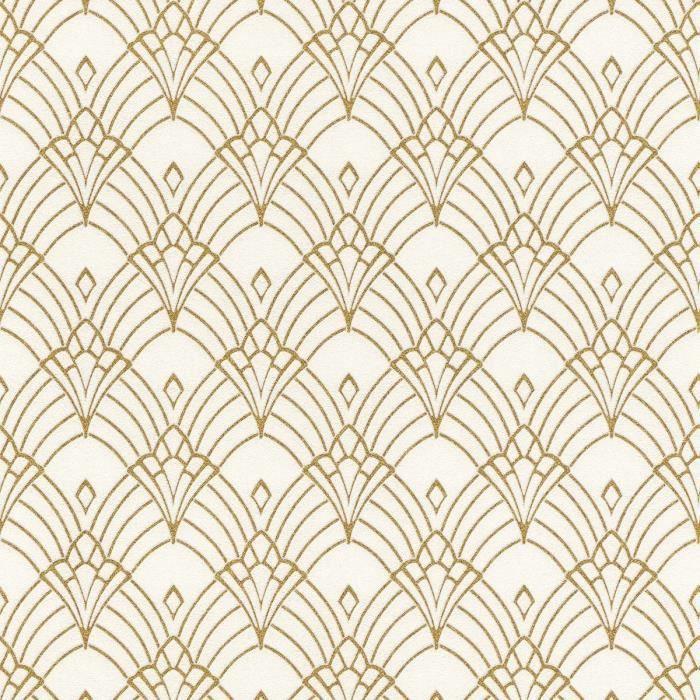 Papier Peint Astoria Art Nouveau Art Déco Blanc Or Rasch 433913