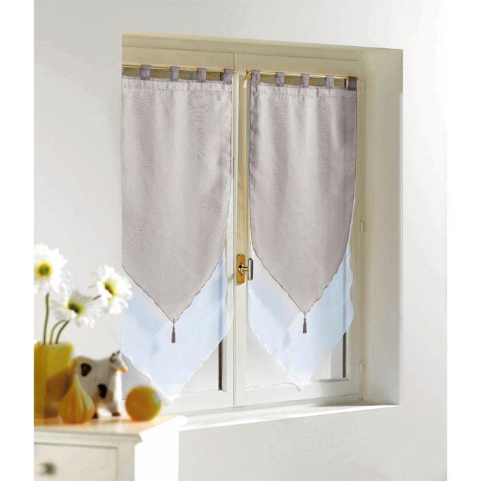 2 voilages bicolores pompons 160x60cm blanc gris achat for Decoration maison rideaux fenetre
