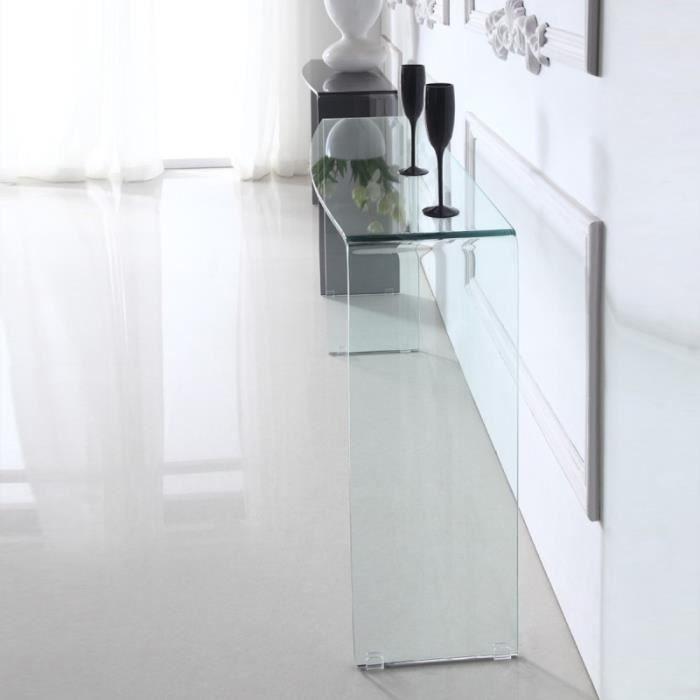 console verre et bois achat vente console verre et. Black Bedroom Furniture Sets. Home Design Ideas