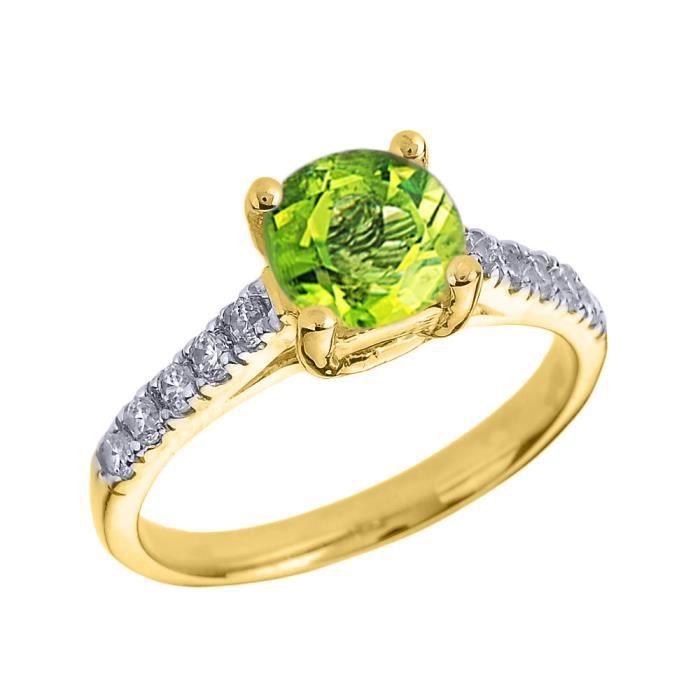 Bague Femme 10 Ct Or Jaune Diamant Et Péridot Solitaire