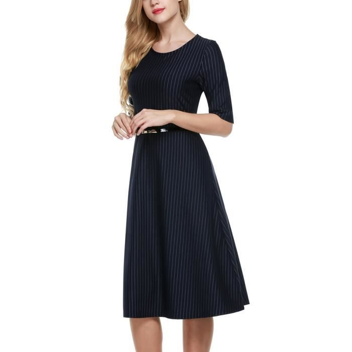 robe de bureau femmes à manches demi élegant avec ceinture