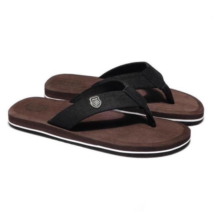 Tongs homme meilleure qualité 2017 nouvelle marque de luxe chaussure Confortable Nouvelle mode chaussure homme plein air marron40
