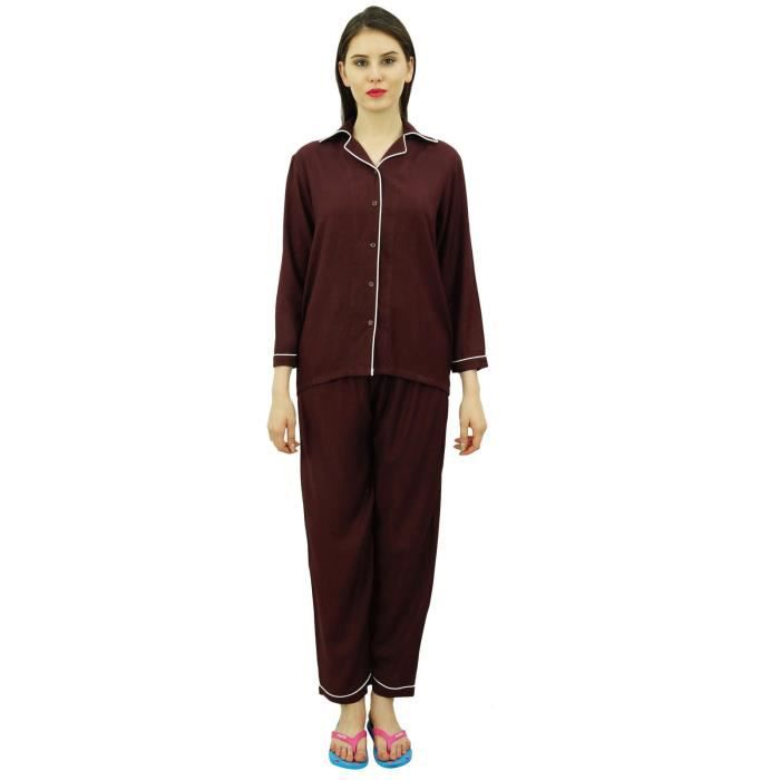 524b635fa3f22 Bimba Chemise Boutonnée Avec Pantalon Pyjama À Taille Élastique Ensemble De  Vêtements De Nuit À Manches Longues De 2 Pièces, Marron