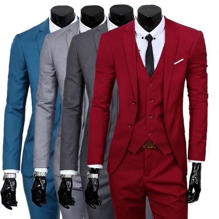 Costume homme 3 pieces mariage tenue de soirée fête blazer veste homme 0aae6bddf27