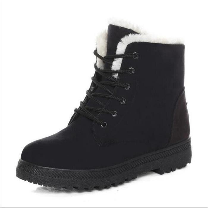 Bottine Femme hiver Casual peluche boots BDG-XZ003Noir-35