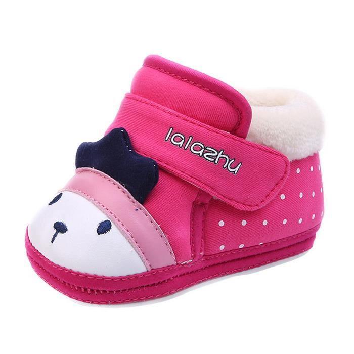 Chaussures Bébé Premier Pas Souple Chaussons en Coton Bébé Fille Bébé Garçon avec Velours Intérieur Chaud Hiver Antidérapant