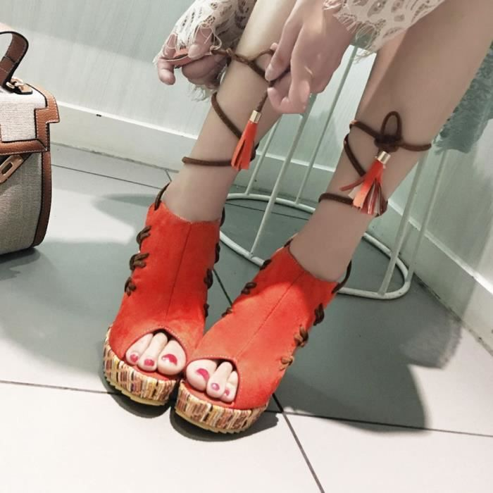 SANDALE - NU-PIEDS Femmes Mode ethnique bohème toes couleur velours S