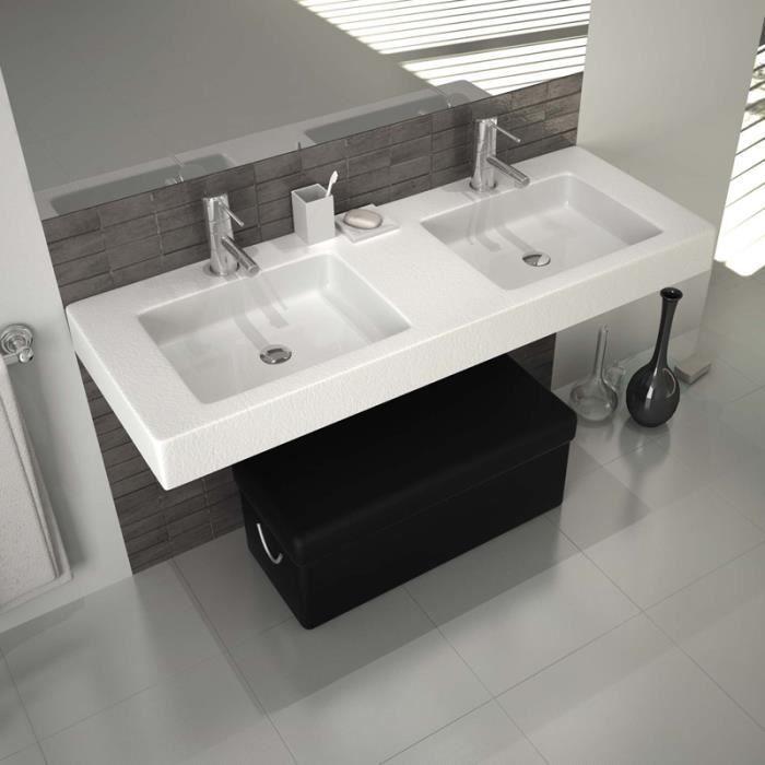 vasque a suspendre Vasque double à suspendre ou à poser 120 cm - Duo Blanc
