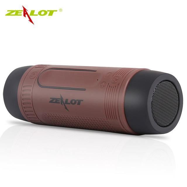Zealot S1 Vélo Subwoofer Portable Puissance Sans Fil Téléphone Mobile Lumière Led Cadre De Mousqueton - Brown