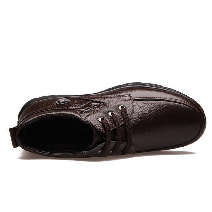 Bottes fourrées homme chaussures d'hiver en coton rembourré véritable botte en cuir a lacets fourrure interne 9nF1k