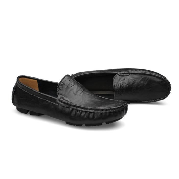 Mocassin Hommes Mode Chaussures Grande Taille Chaussures GD-XZ73Noir40
