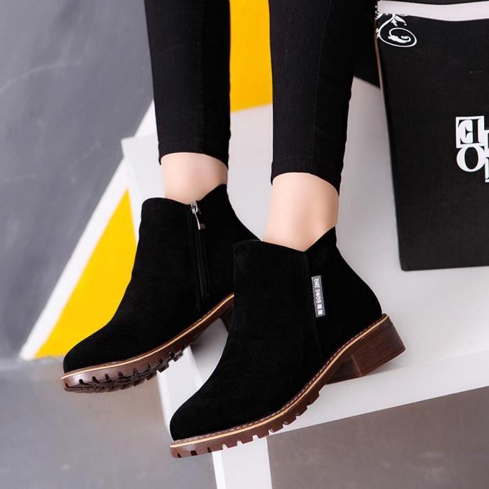 Féminine Rond Noir En Bas Garniture Casual Cuir Chaussures Mode Bottes Cheville Martin Bout dZF4dw6x
