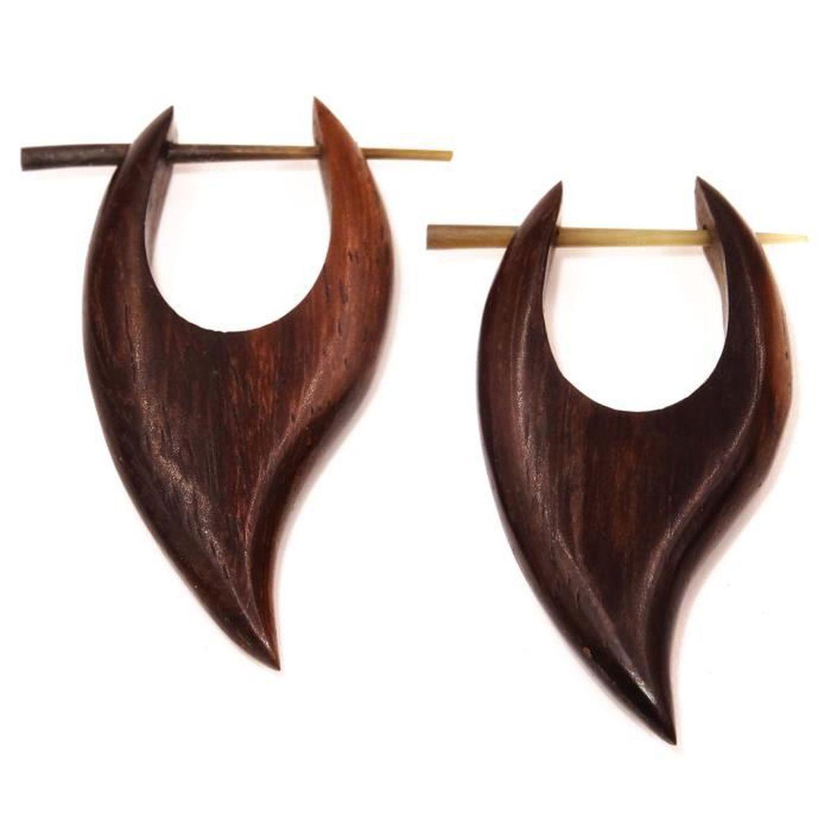 Boucle oreille homme en bois