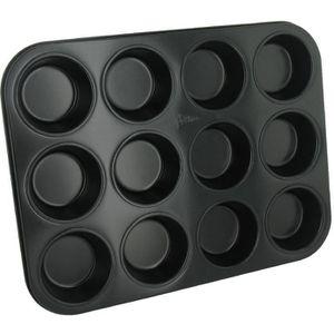 PATISSE Plaque ? muffins antiadhésif en acier rev?tu - 12 cavités - 35x27 cm - Noir