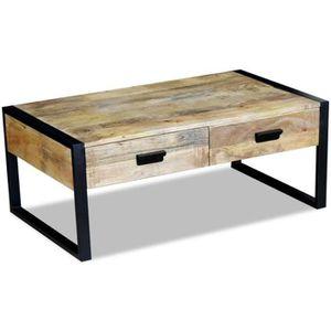 TABLE BASSE Table basse avec 2 tiroirs Bois de manguier massif 5407f6610e1c
