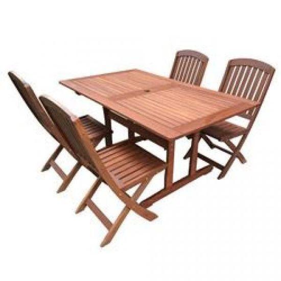 Salon de jardin acacia table 150cm + 4 chaises pliantes - Achat ...