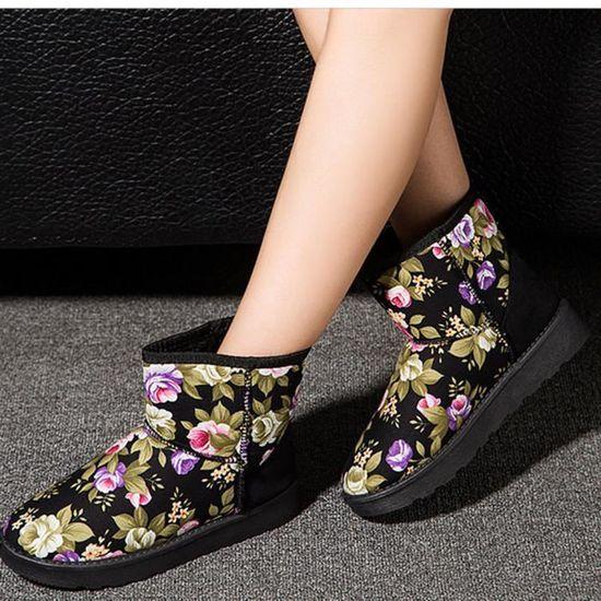 Femmes Cheville Imprimé Bottes Fourrure Doublé Hiver Automne Chaud Neige Bottes Chaussures@Noir   HEXIAOqin 137 Noir Noir - Achat / Vente botte