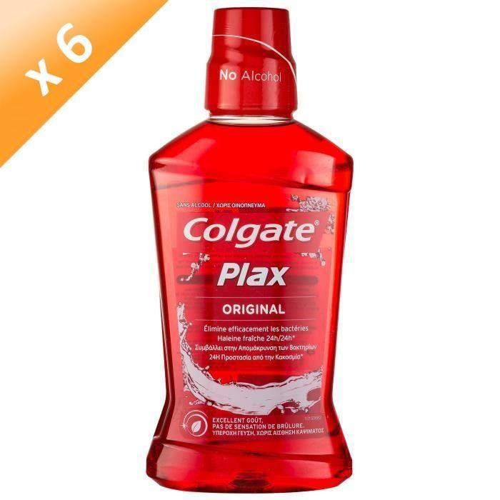 COLGATE PLAX Bains de bouche Original 24h - 500 ml - Sans alcool - Lot de 6BAIN DE BOUCHE - PRODUIT DE SOIN DES DENTS
