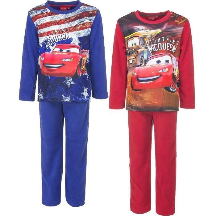 7a7788b055a56 Ensemble de vêtements Pyjama Polaire pour enfant CARS DISNEY en Rouge ...
