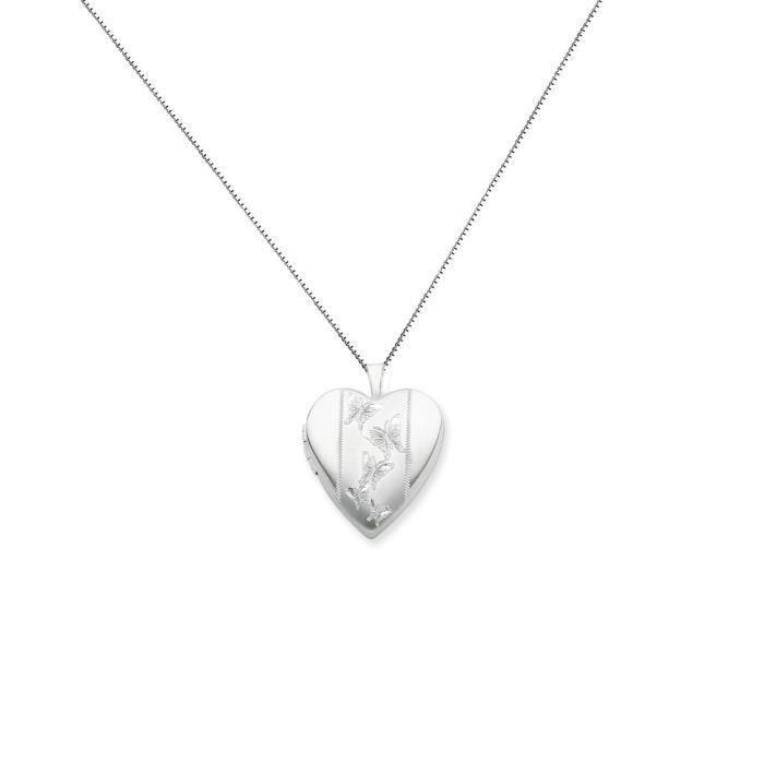 Argent Sterling 20 mm avec médaillon en forme de cœur-Papillons