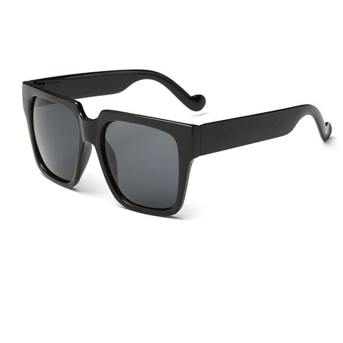 noir Cadre lunettes de soleil surdimensionnées carré des femmes avec des verres