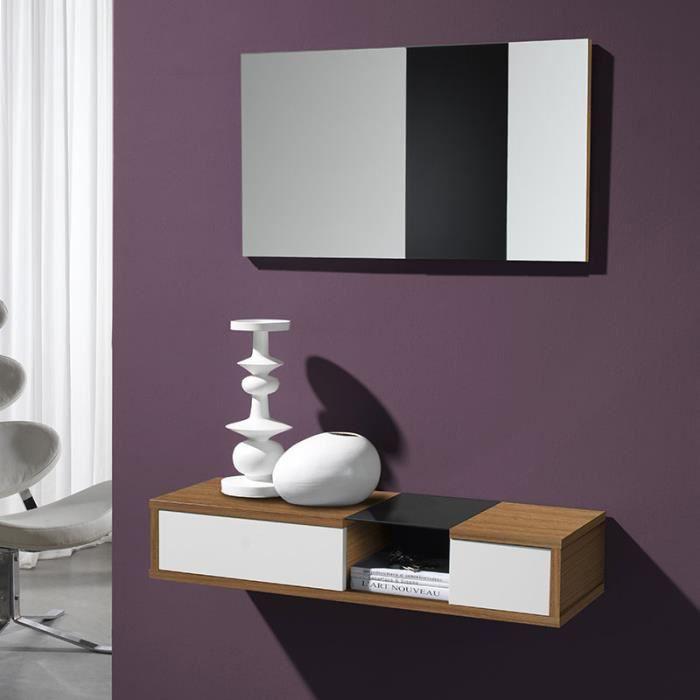 Meuble d\'entrée moderne couleur noyer et blanc TURINO 3 - Achat ...