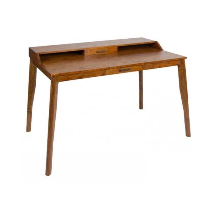 bureau bois exotique miel sobre et pur 110cm achat. Black Bedroom Furniture Sets. Home Design Ideas