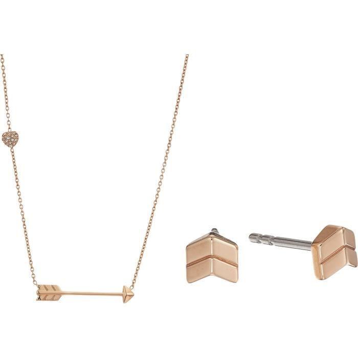 Fossil Flèche Goujons Motif de femmes et Arrow Ensemble-cadeau collier YSL7M