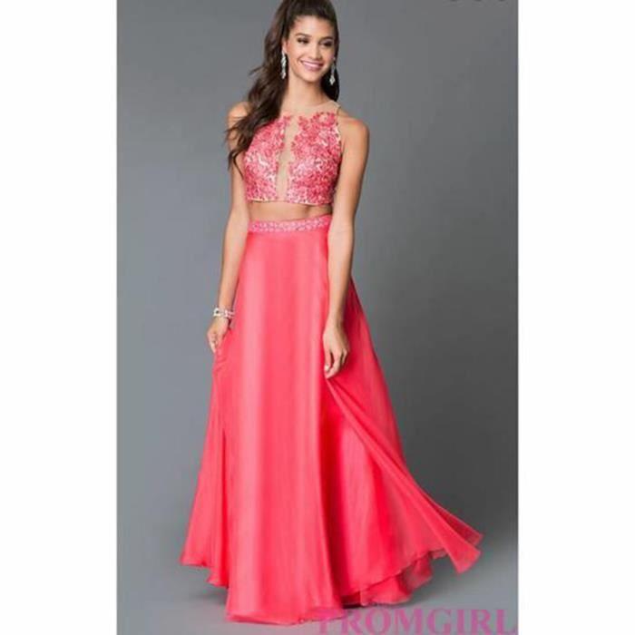798f4f15bb9 Perlée deux pièces Robe longue Prom pastèque applique dentelle robe de  soirée les femmes en mousseline de soie rob…