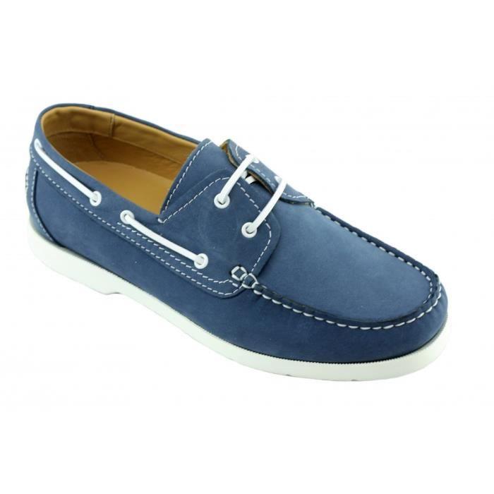 Dock fabriqué Bateau souple Side Portugal pointure amp; confortable Homme marine style pont pour 46 Chaussures de bleu cuir 39 WB6SWn