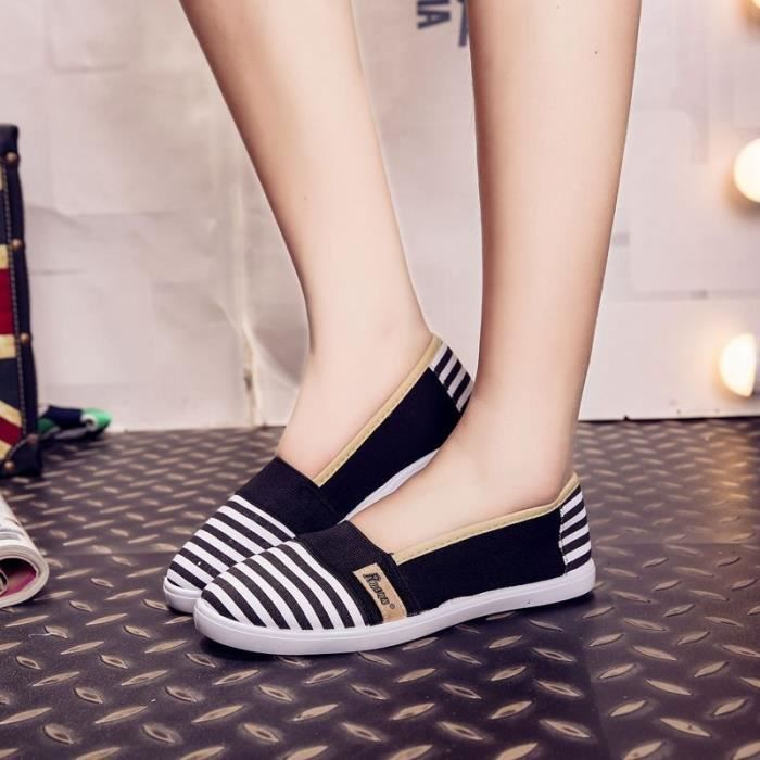 Mode féminine été respirables Chaussures de toile Slip-On Chaussures plates pour les femmes,rouge,4.5
