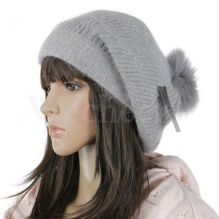 bonnet de laine hiver chaud femme fourrure de lapin chic bonnet tricot l gant taille cap. Black Bedroom Furniture Sets. Home Design Ideas