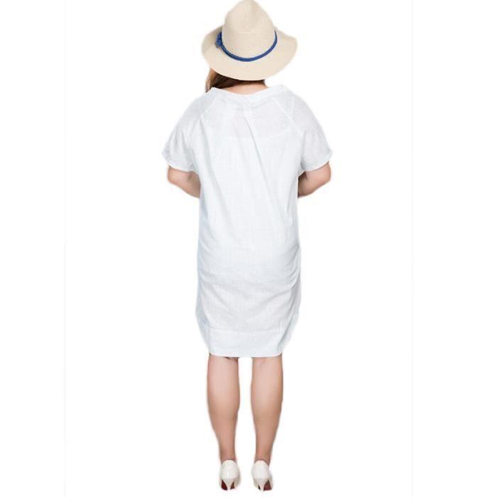 Robe Femme Mi-Longue Large Col Rond Manche Courte Couleur Unie Plisse
