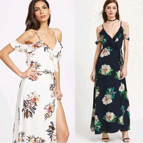2017 Nouveau été sangle robe floral impression sexy robe jupe longue